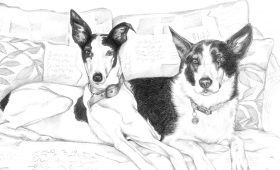 Izzy an Rosa – A4 Graphite Pencil Sketched Study